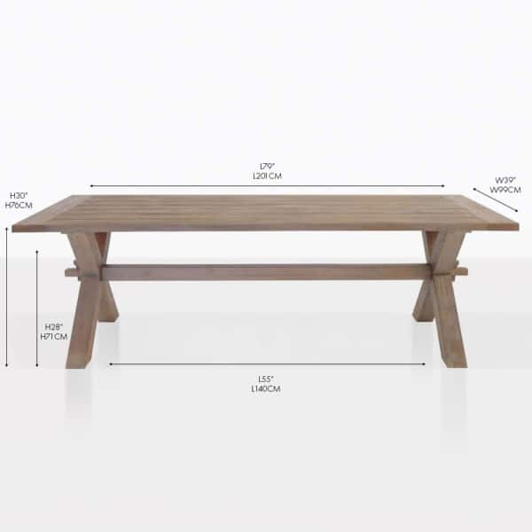 rustic x-leg dining table