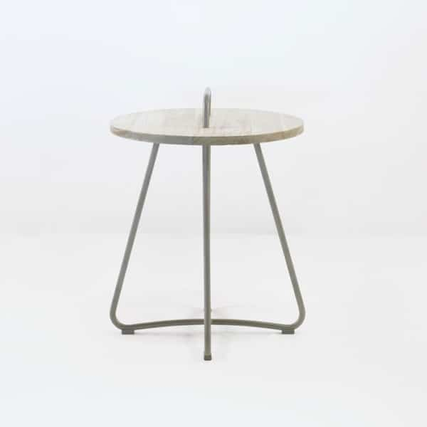 samba side table taupe side view