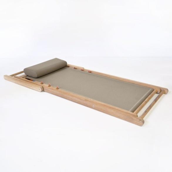 teak sling chair folded