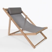 Sling Mesh And Teak Beach Chair