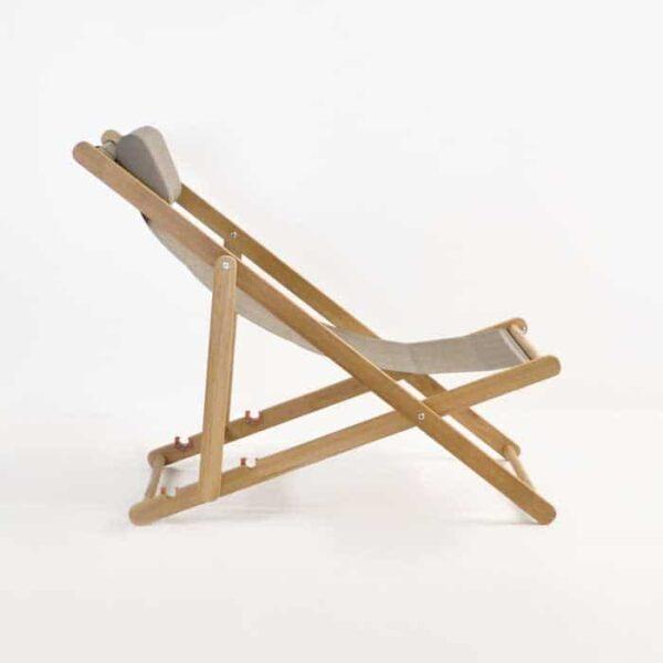 teak sling chair side view