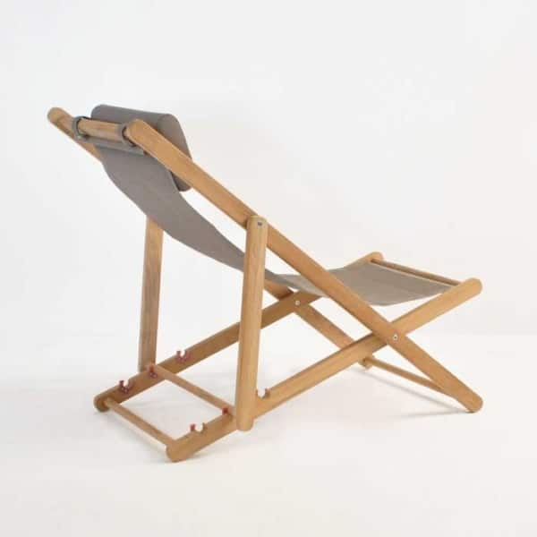 teak sling chair back angle view