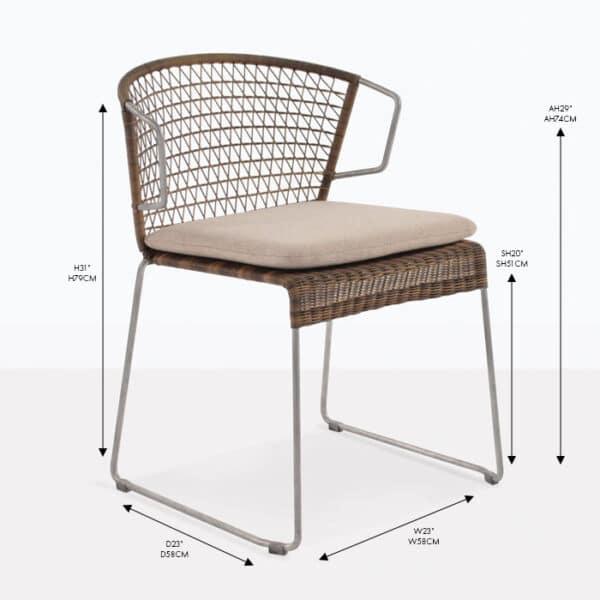sophia wicker sampulut arm dining chair