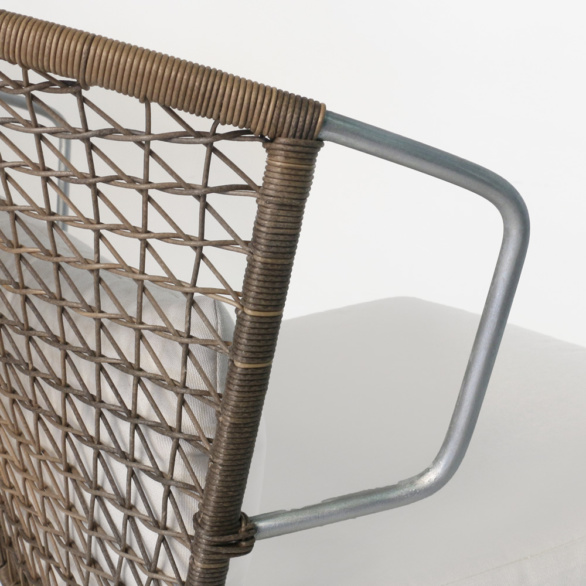 Sophia Modern Wicker Chair With Steel Arms