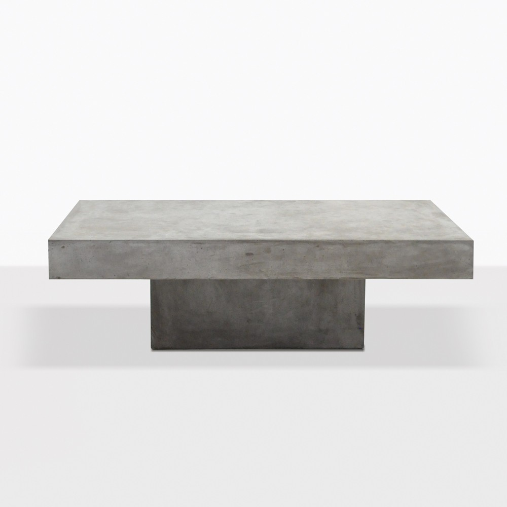 Blok Square Concrete Coffee Table Patio Furniture Teak