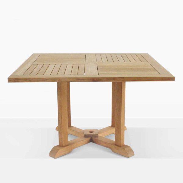 Square Teak Pedestal Dining Table