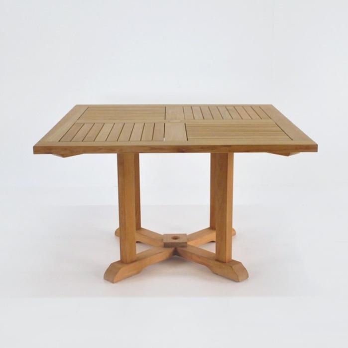 Delightful Square Teak Pedestal Tables 0