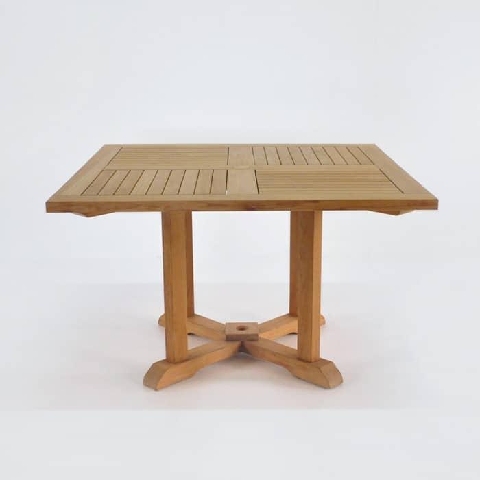 square teak pedestal table dining tables teak warehouse. Black Bedroom Furniture Sets. Home Design Ideas