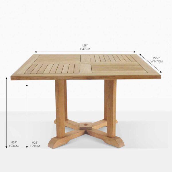 square pedestal teak square dining table