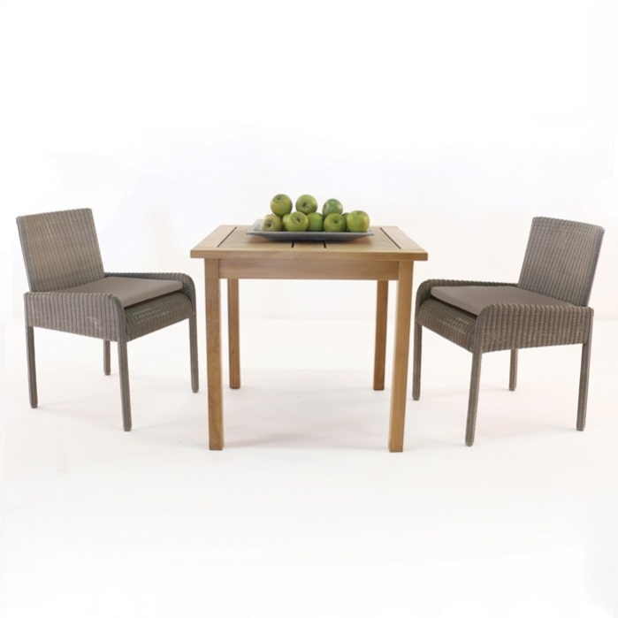 Teak Square Table with 2 Zambezi Wicker Chairs Outdoor Dining Set-0