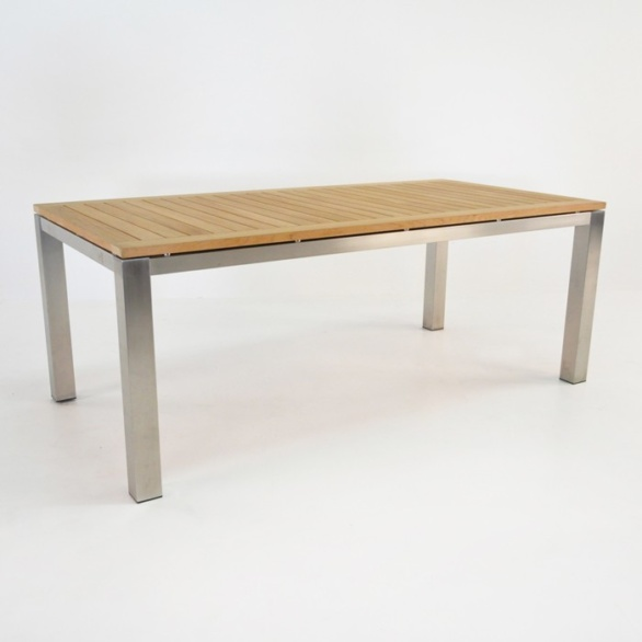 stainless steel and teak dining table