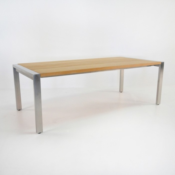 stainless steel and teak plank dining table