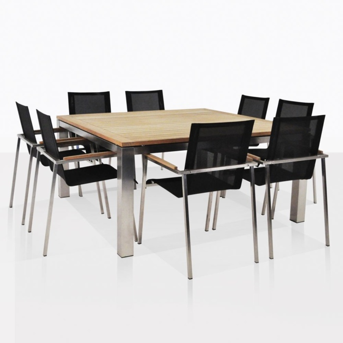 Stainless Steel Dining Set Square Summer Table With 8 Chairs