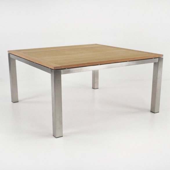 stainless steel and teak square table