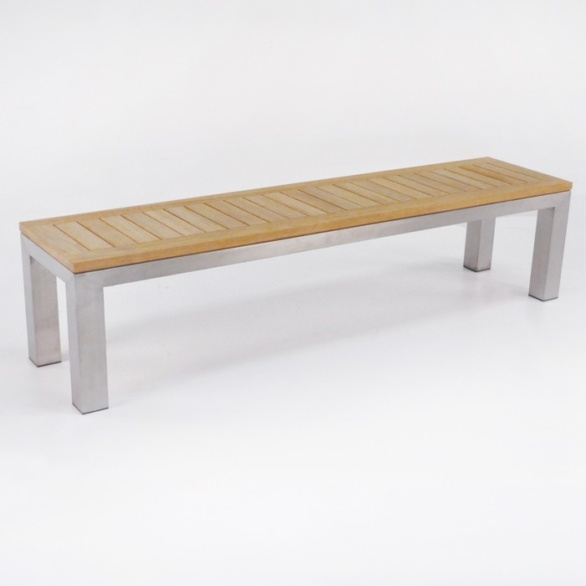 Stainless Steel and Teak Backless Outdoor Bench-0