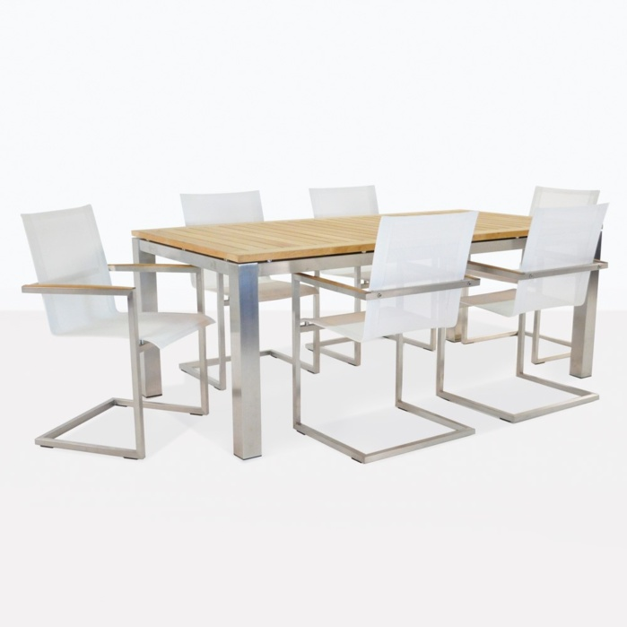 Teak And Stainless Steel Dining Set For Six People
