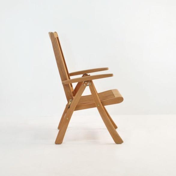 st moritz teak folding reclining chair side view