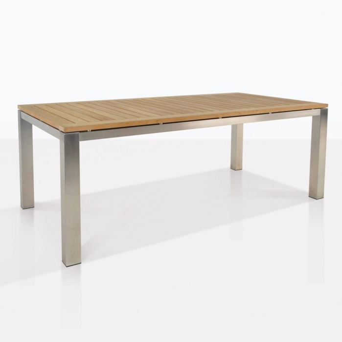 Teak And Stainless Steel Outdoor Dining Table