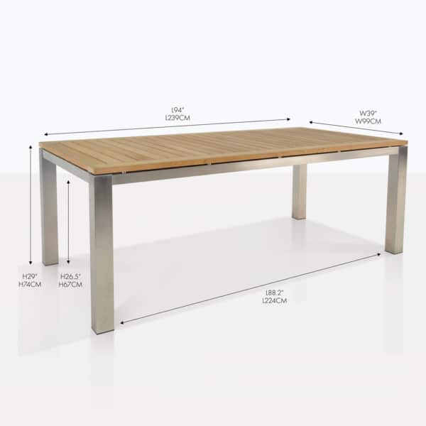 stainless steel and teak fixed rectangular dining table