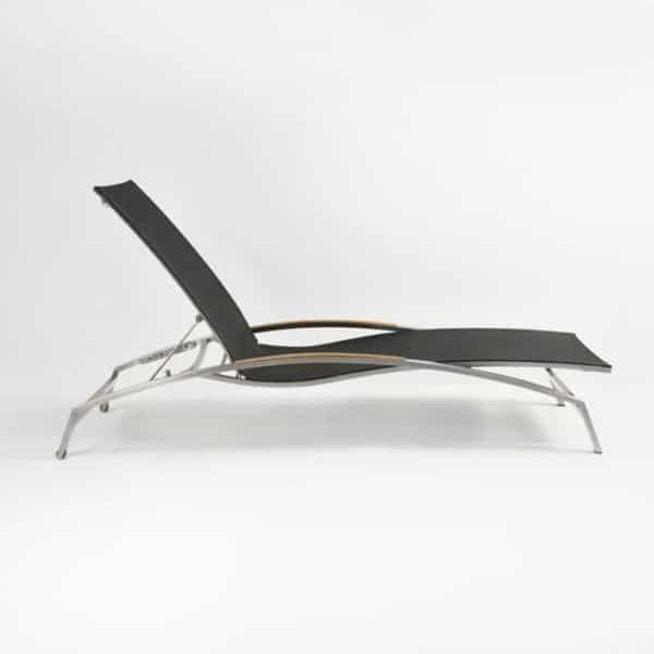 summer stainless steel sun lounger black side view
