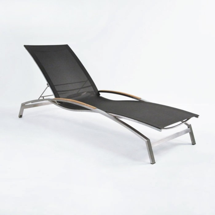 Summer Stainless Steel and Batyline Sun Lounger (Black)-0