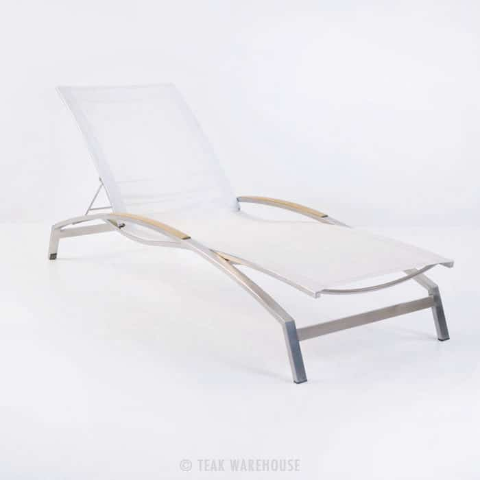 Summer Stainless Steel and Batyline Sun Lounger (White ...