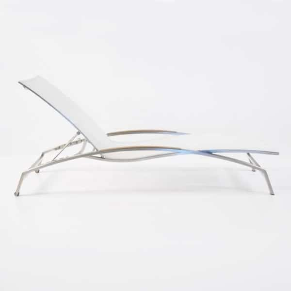 summer stainless steel sun lounger white side view