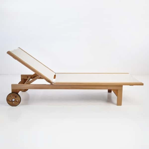 tango teak sunlounger white side view relaxed
