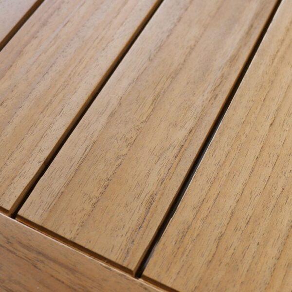 classic rectangle teak coffee table closeup view