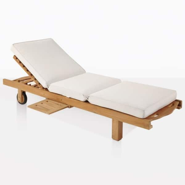 Teak Sun Lounger With White Cushion