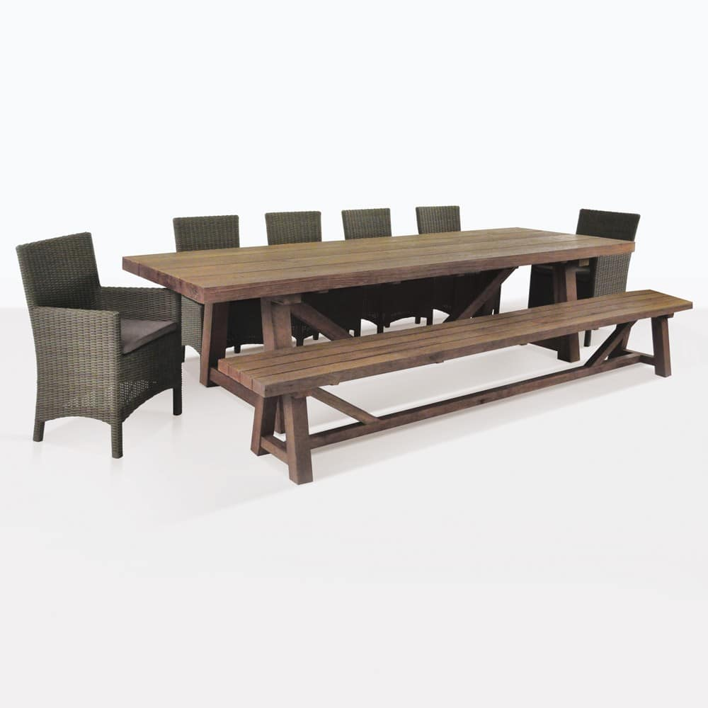 Reclaimed Teak Outdoor Dining Set With Bench U0026 6 Petra Wicker Chairs