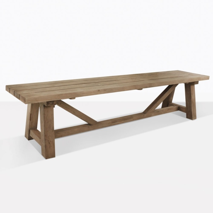Reclaimed Teak Trestle Bench Outdoor Dining Patio Seating