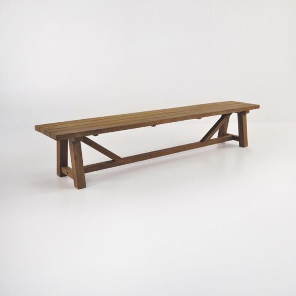 reclaimed teak trestle bench 94in