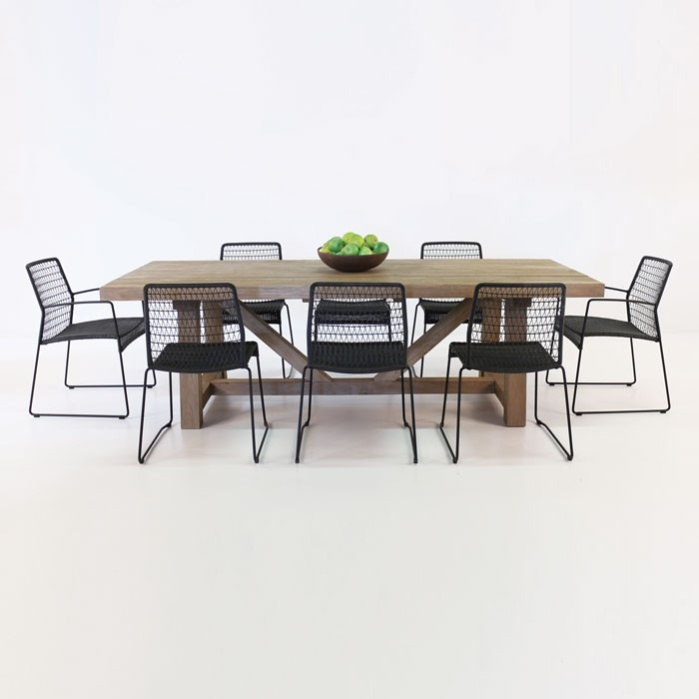 Trestle Table and Edge Chairs Outdoor Dining Set-0