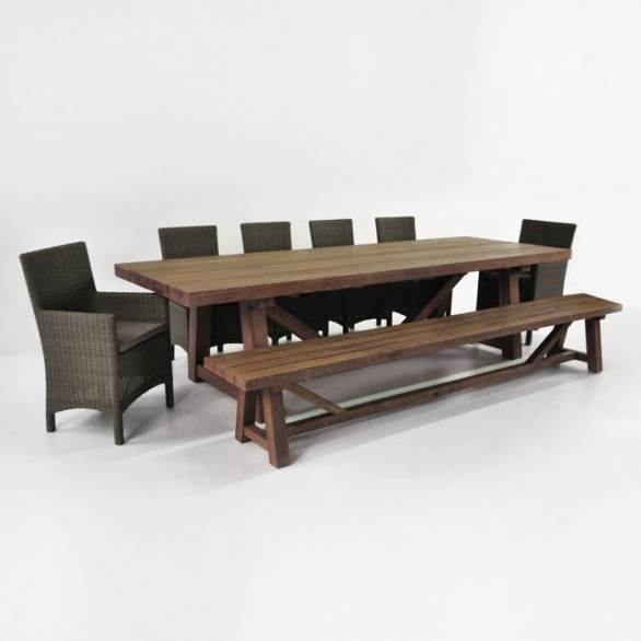 Reclaimed Teak Outdoor Dining Set wBench Wicker Chairs Teak