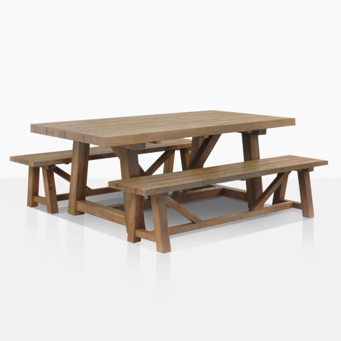 Outdoor Dining Set Reclaimed Teak Trestle Dining Table And 2 Benches