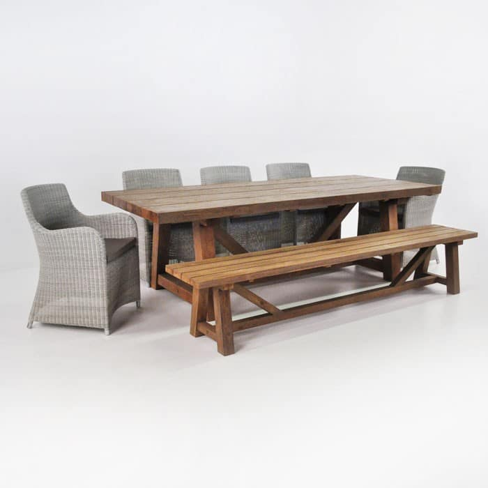 Reclaimed Teak Trestle Table Bench And Wicker Chairs Teak Warehouse