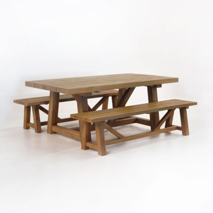 Merveilleux Outdoor Dining Set | Reclaimed Teak Trestle Dining Table And 2 Benches 0