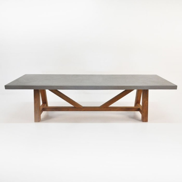 raw concrete trestle table straight
