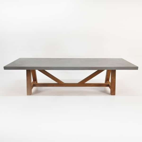 raw concrete trestle table straight