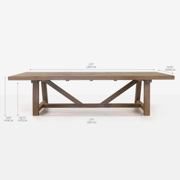 reclaimed teak rectangular trestle dining table