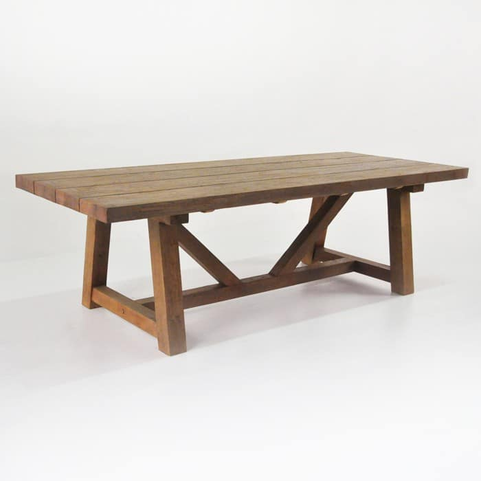 Reclaimed teak trestle table bench and wicker chairs for Outdoor teak dining table