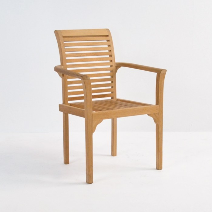 Treviso Stacking Teak Dining Chair Outdoor Patio Seating Teak