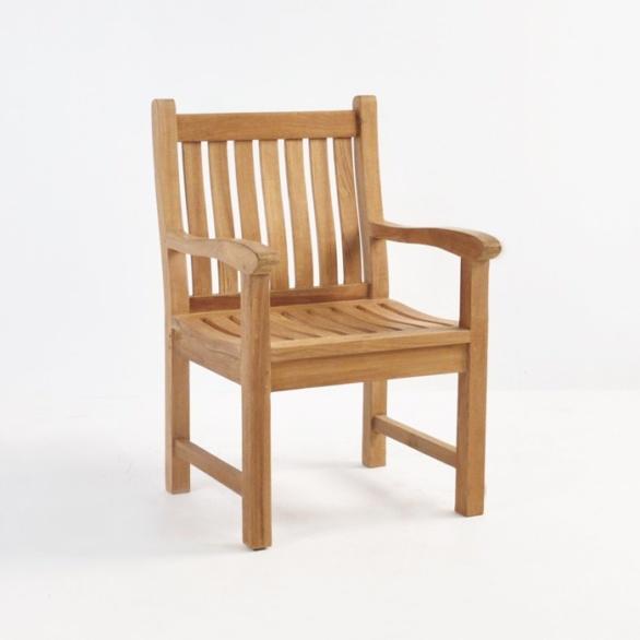 hampton wave teak arm chair