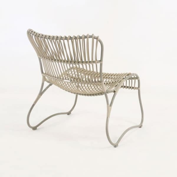 weave wicker and aluminum relaxing chair back angle view