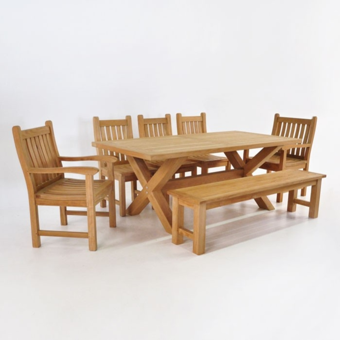 teak dining set x leg table with bench u0026 5 chairs0