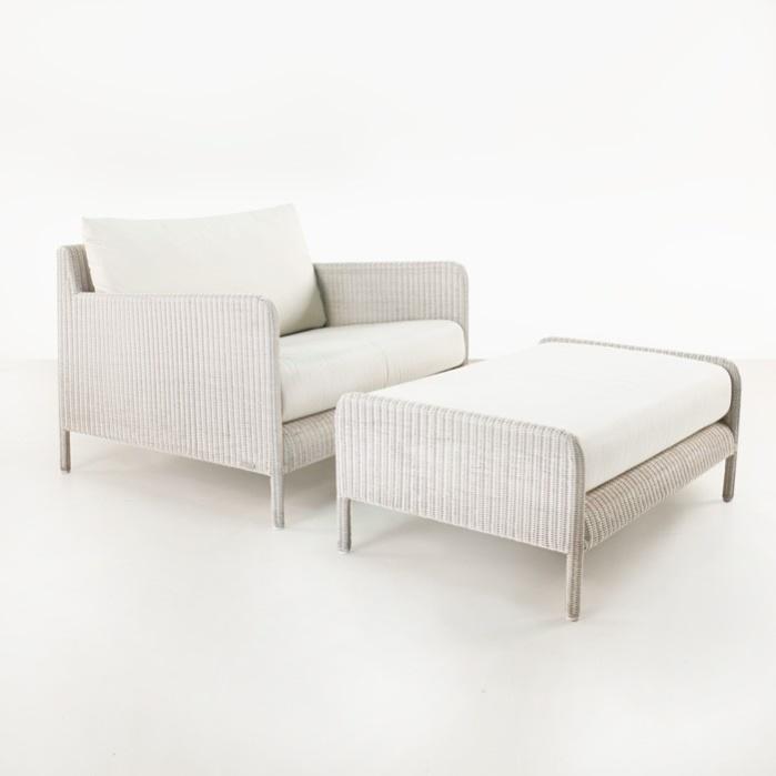 Zambezi Wicker Outdoor Club Chair and Ottoman (Chalk)-0