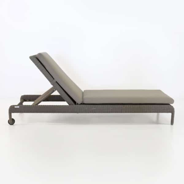 zambezi outdoor wicker chaise lounge pebble side view