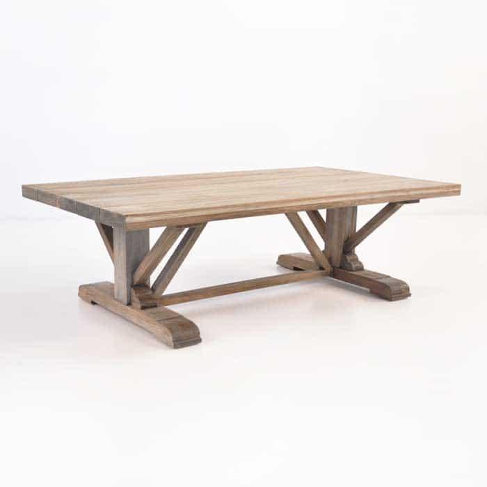 Kingsley wide teak coffee table patio furniture teak for Coffee tables 50cm wide