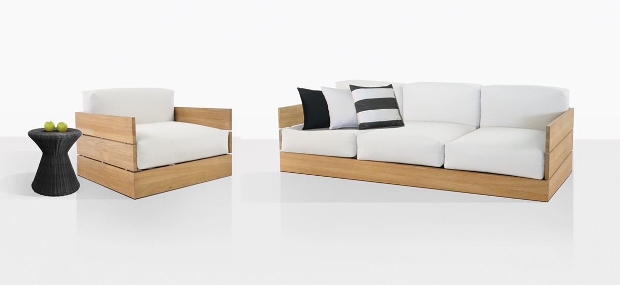 Soho Teak Sofa And Lounge Chair With Sunbrella® Cushions